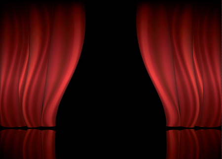 Theater stage with red curtain and copy space vector illustration Illustration