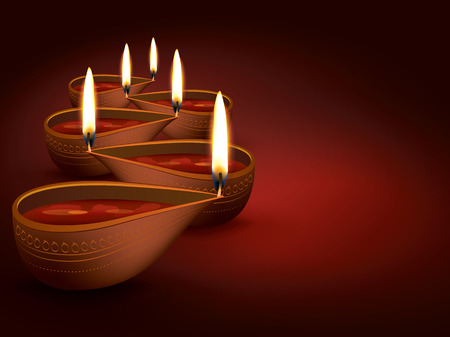 diya: Diwali Holiday vector illustration with burning diya