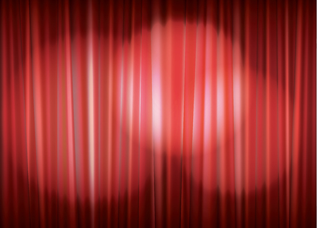 spot light: Theater stage with red curtain and spot light, vector illustration