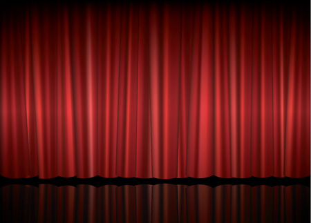 Theater stage with red curtain, vector illustration