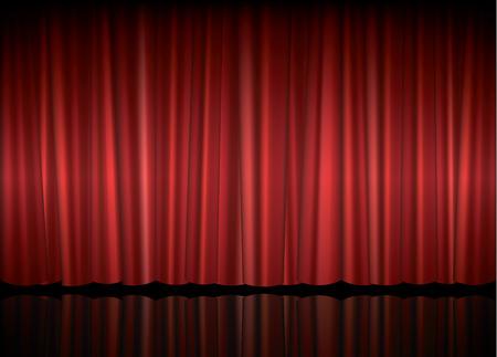 cortinas: Etapa del teatro con la cortina roja, ilustración vectorial