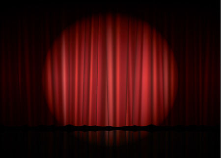 luz focal: Theater stage with red curtain and spot light, vector illustration
