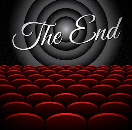 cinema screen: The End on vintage cinema screen, vector illustration