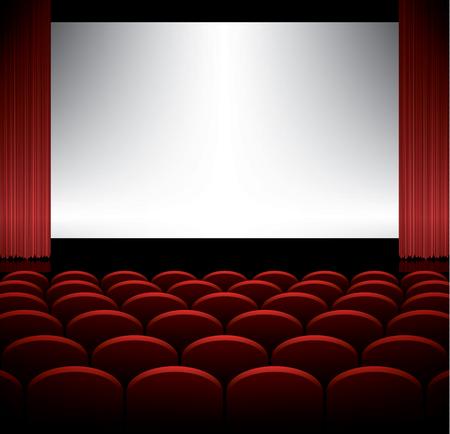 Cine: Auditorio del cine con asientos y la pantalla, vector de fondo