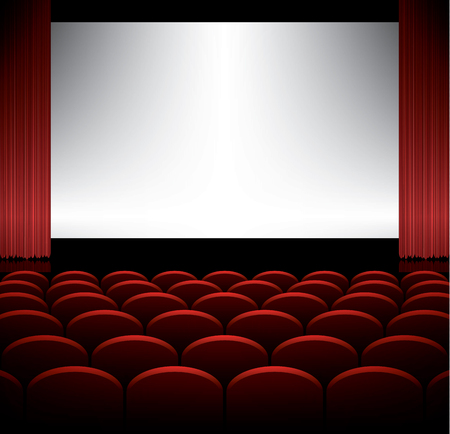 red theater curtain: Cinema auditorium with seats and screen, vector background