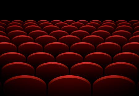 teatro: Filas de cine o teatro asientos rojos, vector de fondo Vectores