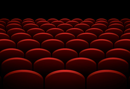seats: Rows of cinema or theater red seats, vector background Illustration