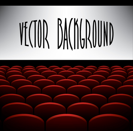 cinema: Cinema auditorium with seats and screen, vector background