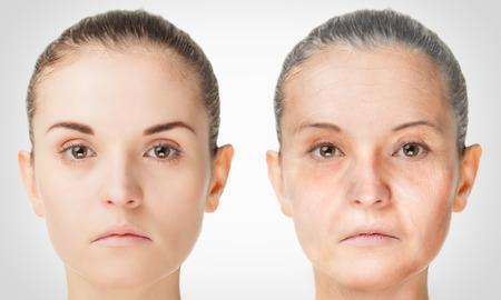 Processus de vieillissement, les procédures de rajeunissement de la peau anti-âge jeunes et vieux concept de Banque d'images