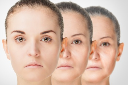 aging skin: Aging process, rejuvenation anti-aging skin procedures old and young concept Stock Photo