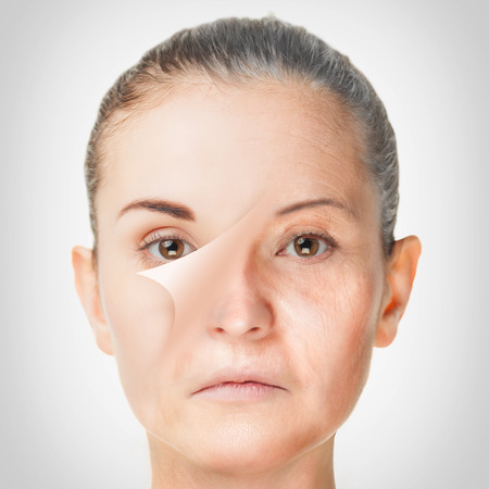 anti wrinkles: Aging process, rejuvenation anti-aging skin procedures old and young concept Stock Photo