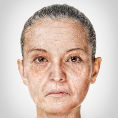 aging face: Old woman face portrait, aging process concept Stock Photo