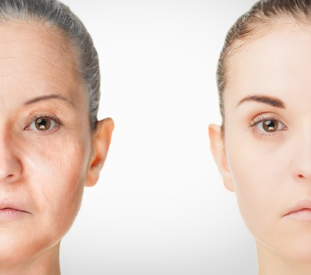 rejuvenation: Aging Process, rejuvenation anti-aging skin procedures old and young concept