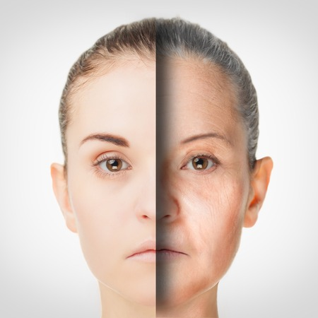 aging skin: Aging Process, rejuvenation anti-aging skin procedures old and young concept