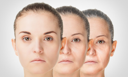 Aging process, rejuvenation anti-aging skin procedures old and young concept Stockfoto