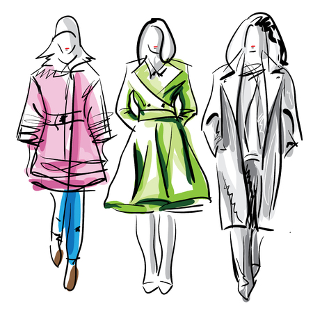 Colorful fashion models sketch isolated, illustration
