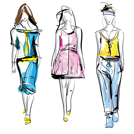 Colorful fashion models sketch isolated, illustration Stock Vector - 52499376
