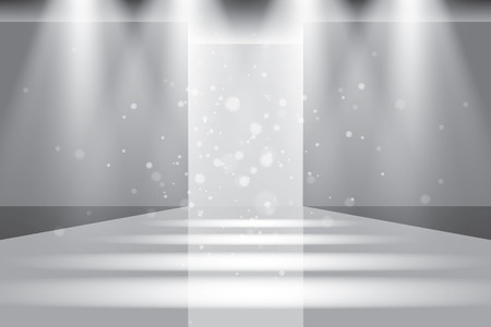stage door: Empty catwalk, fashion runway illuminated vector illustration
