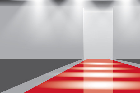 catwalk: Empty catwalk, fashion runway illuminated vector illustration