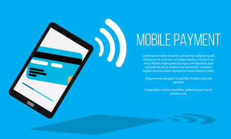 Mobile payments with smartphone concept of communication technology Illustration