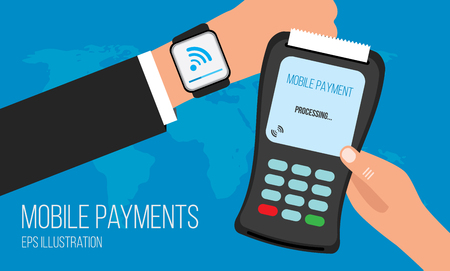 mobile communication: Mobile payments with smart watch concept of communication technology