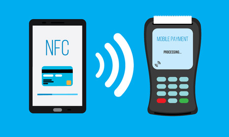 mobile communication: Mobile payments with smartphone concept of communication technology Illustration