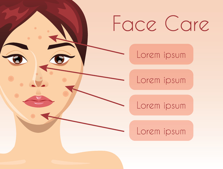 regeneration: Acne treatment concept with beautiful woman face, illustration