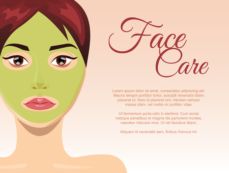 face mask: Woman skin care concept with face clay mask, illustration