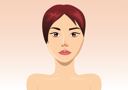 anti aging: Fresh beautiful woman face illustration for healthcare project