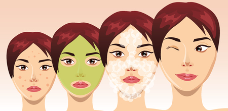 retouch: Beautiful woman face in process of acne treatment, illustration