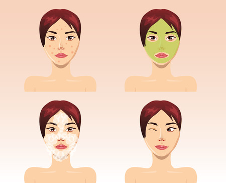 rejuvenation: Beautiful woman face in process of acne treatment, illustration
