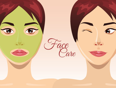 clay mask: Woman skin care concept with face clay mask, illustration