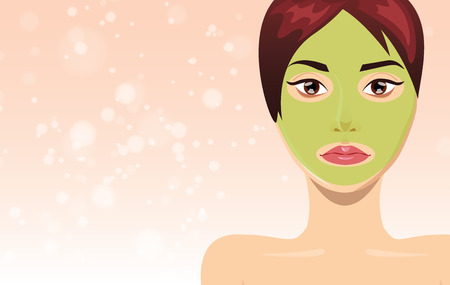 retouch: Fresh beautiful woman face with clay mask, illustration for skin care project