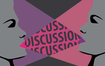 to discuss: Two women discuss together discussion, concept vector design