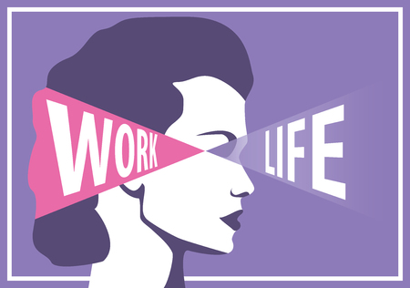 equal opportunity: Woman choosing between work and career, concept vector design