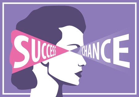 chance: Success woman sees her chance career, conceptual vector