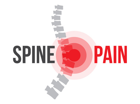 scoliosis: Lumbar spine pain, anatomy and medical conceptual vector illustration