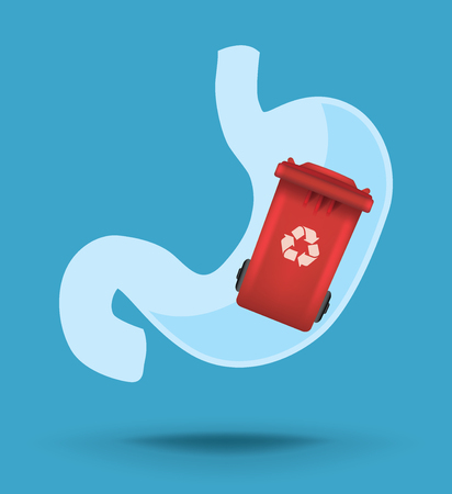 flatulence: Stomach vector icon with trush bin inside, concept of nutrition and unhealthy food Illustration