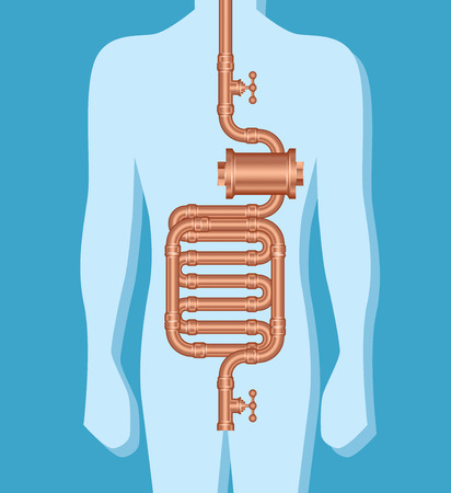 Digestive system conceptual, funny vector illustration with pipes Illustration