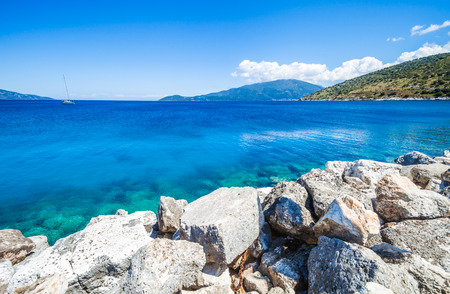 kefalinia: Sea and islands view landscape during the summer Kefalonia Greece Stock Photo