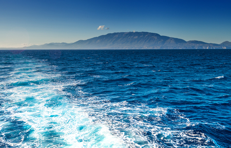 ionian island: Kefalonia with Mount Ainos Greek island view from Ionian sea