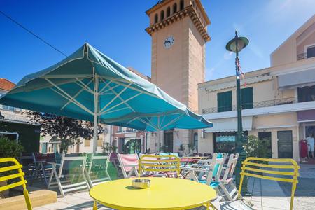 outdoor restaurant: Small cozy outdoor restaurant in summer day Argostoli Greece Stock Photo