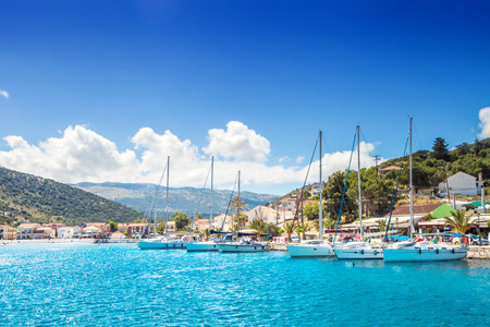 seaside town: Sailboat harbor in small seaside town Kefalonia Greece
