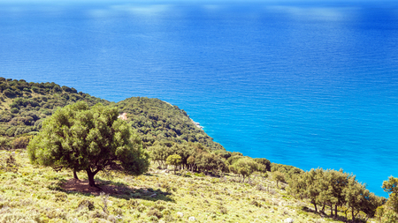 kefalinia: Sea and forest view landscape during the summer Kefalonia Greece Stock Photo