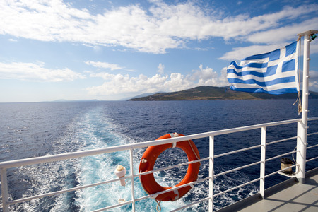 ferry boat: Ferry boat in Greece view on sea and islands with cruise ship trail