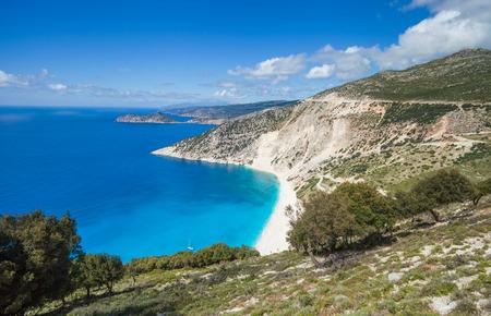Myrtos bay and idyllic beach on Kefalonia island Greece Stock Photo