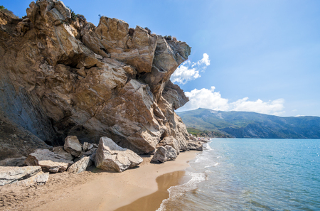 zakynthos: Beautiful beach with monumental rocks Kalamaki, Zakynthos Greece Stock Photo