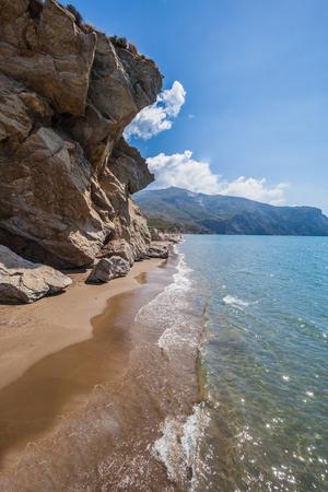 monumental: Beautiful beach with monumental rocks Kalamaki, Zakynthos Greece Stock Photo