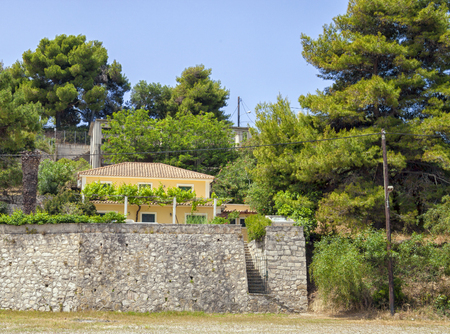 mediterranea: Traditional Mediterranean style beach house in a summer day