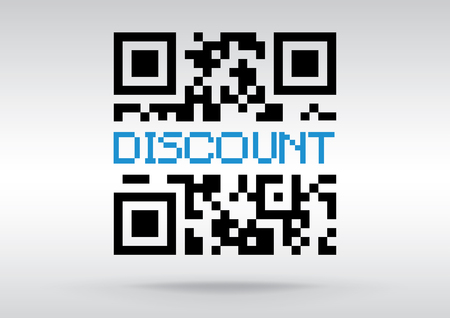 www community: Discount symbol, vector conceptual QR code to scan illustration Stock Photo
